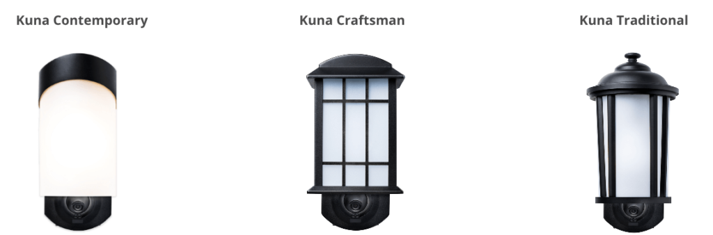 kuna porch light security camera styles