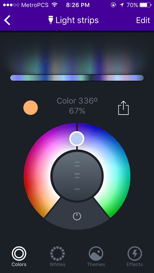 LIFX Z review app screenshot