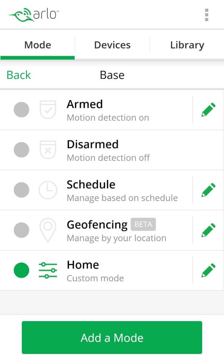 arlo pro app modes