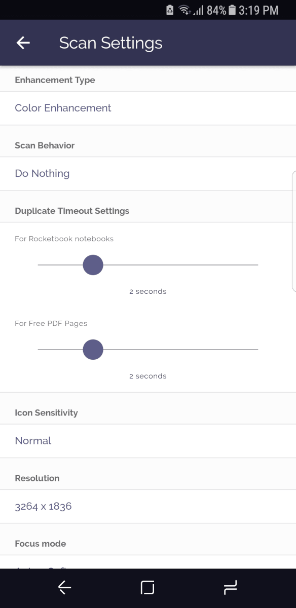 rocketbook app settings