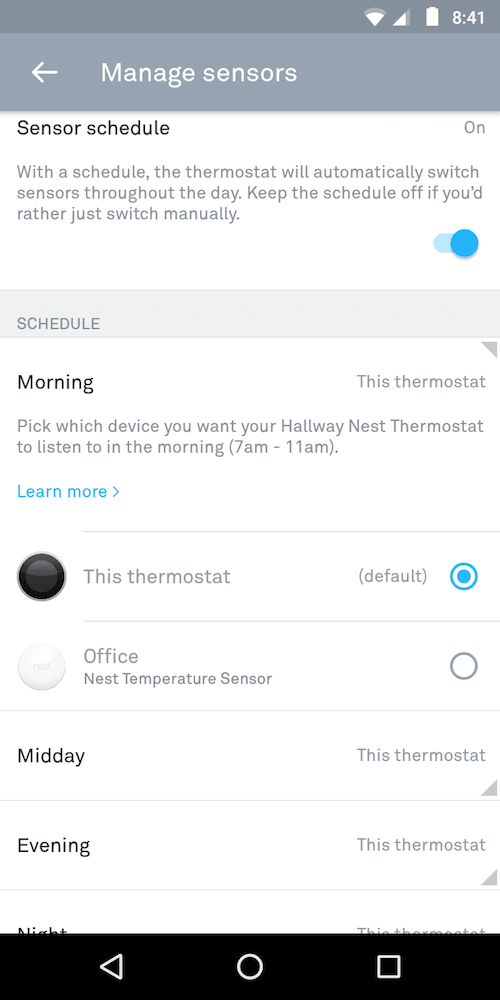 nest sensor screenshot