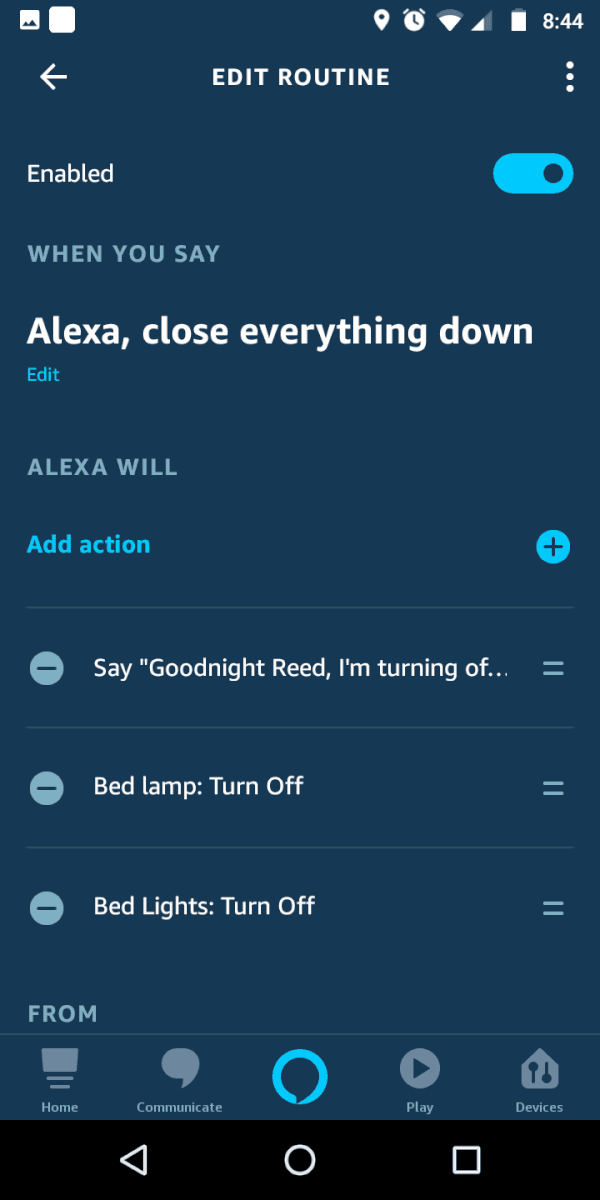 alexa evening routine