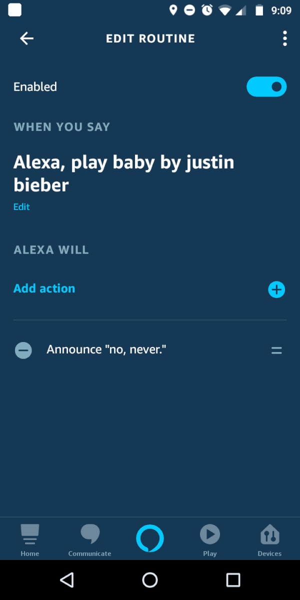 alexa routines music