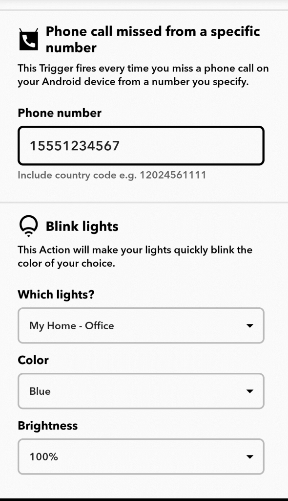 missed call smart light notification